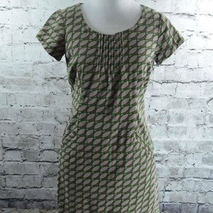 Boden Corduroy Geometric Leaf Print Dress